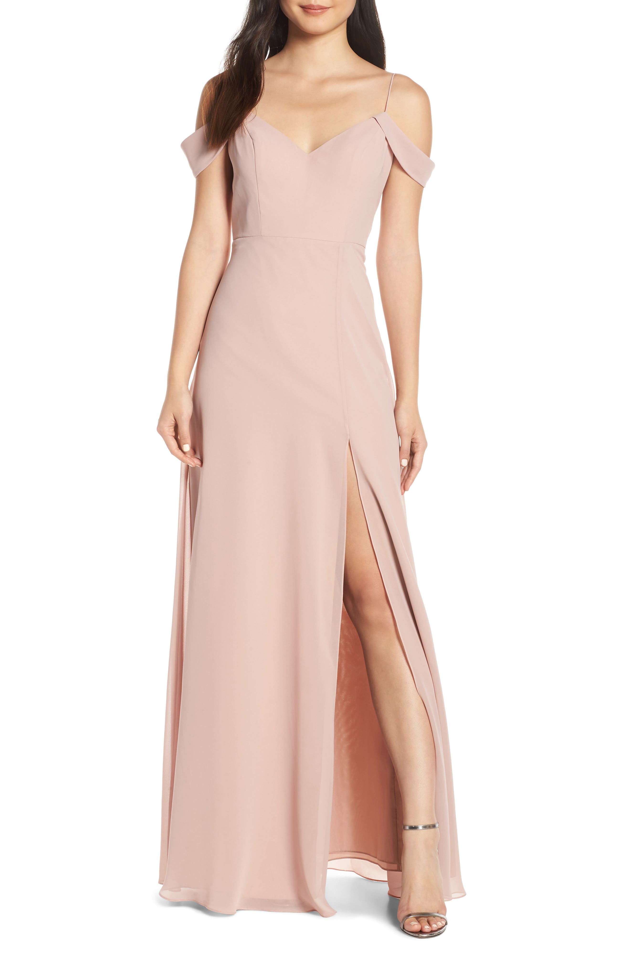 Jenny Yoo Priya Cold Shoulder Chiffon Evening Dress, Pink