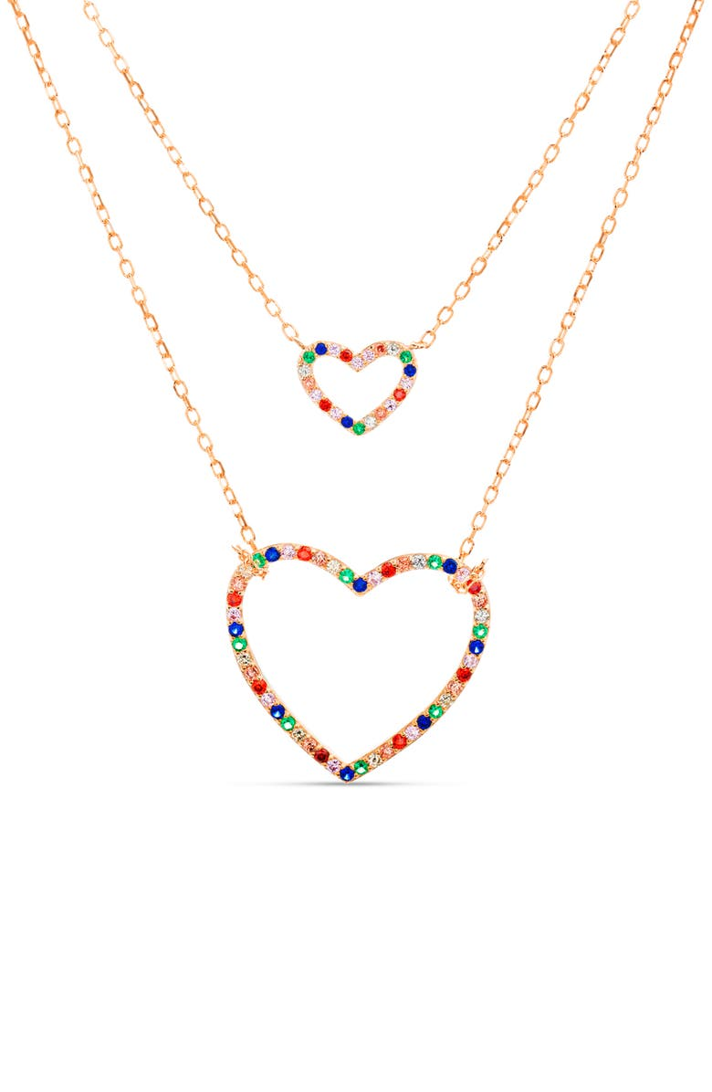 LESA MICHELE Crystal Double Heart Pendant Necklace, Main, color, 710