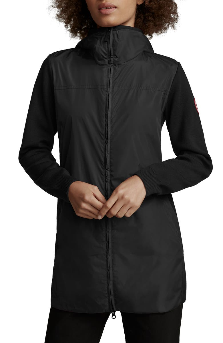 CANADA GOOSE Windbridge Mixed Media Hooded Jacket, Main, color, BLACK