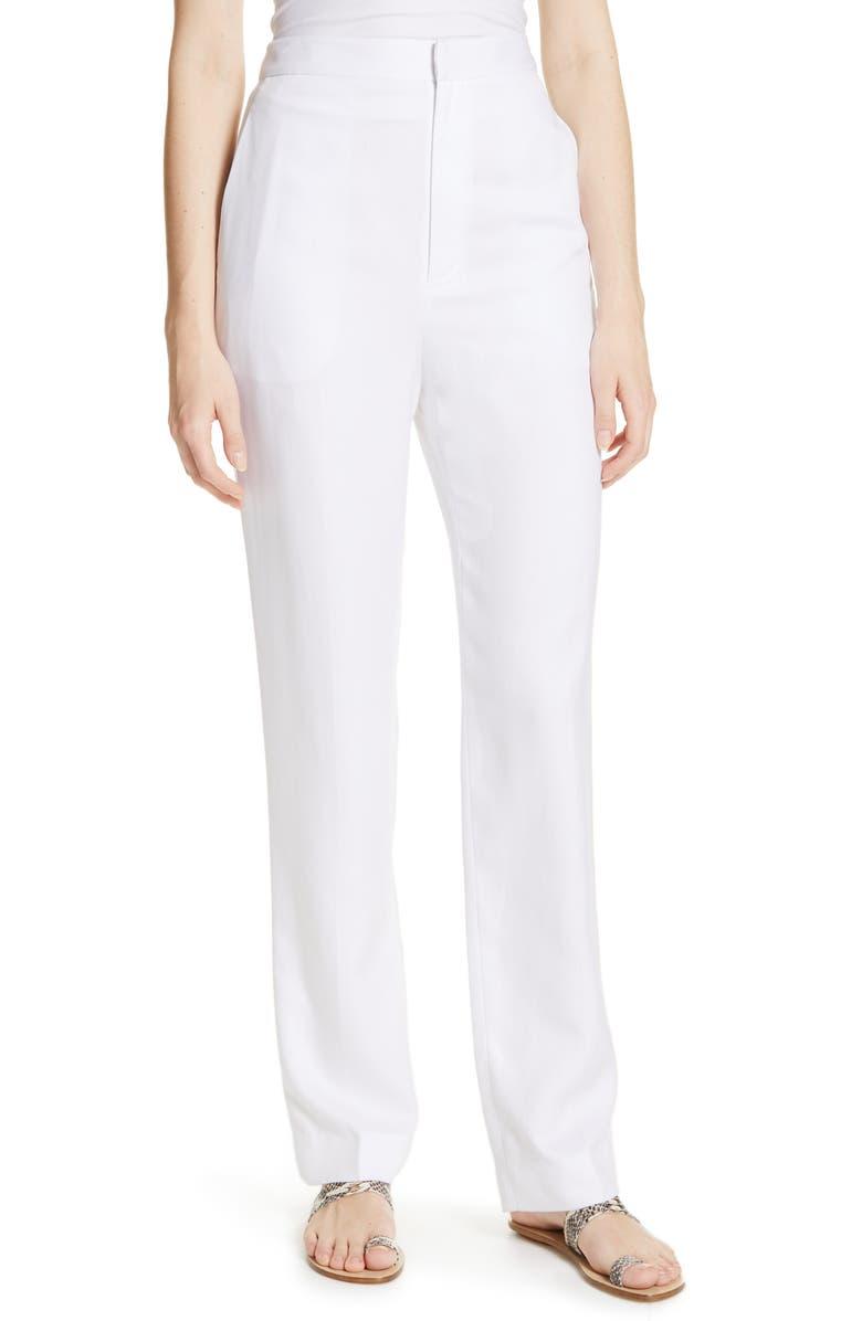 TIBI Sebastian High Waist Suiting Pants, Main, color, WHITE