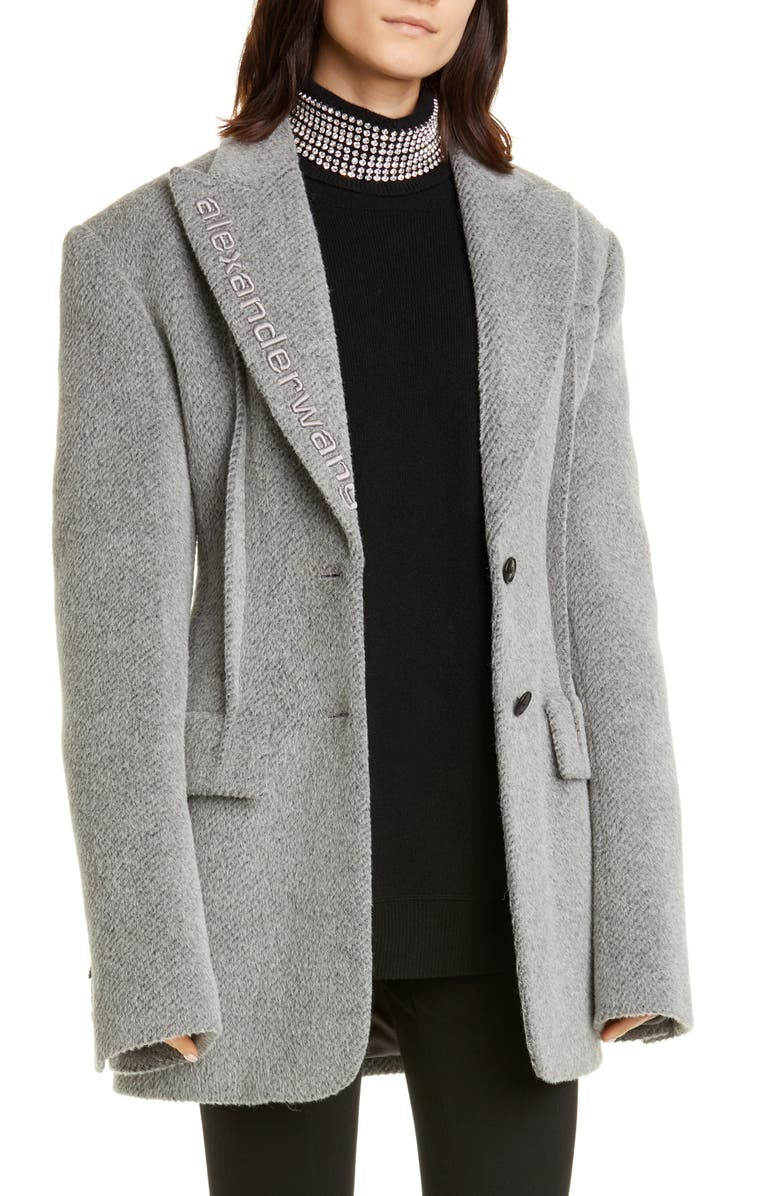 ALEXANDER WANG Oversized Alpaca & Wool Blend Blazer, Main, color, DOVE GREY