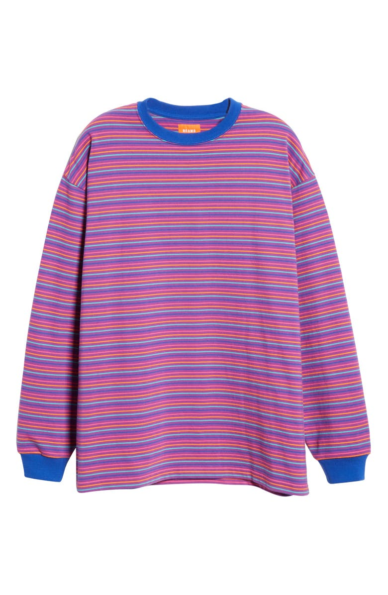 BEAMS High Gauge Stripe Sweater T-Shirt, Main, color, 500