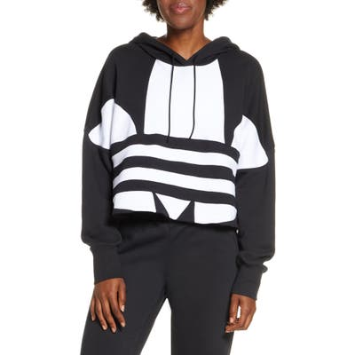 Adidas Originals Big Trefoil Crop Hoodie, Black