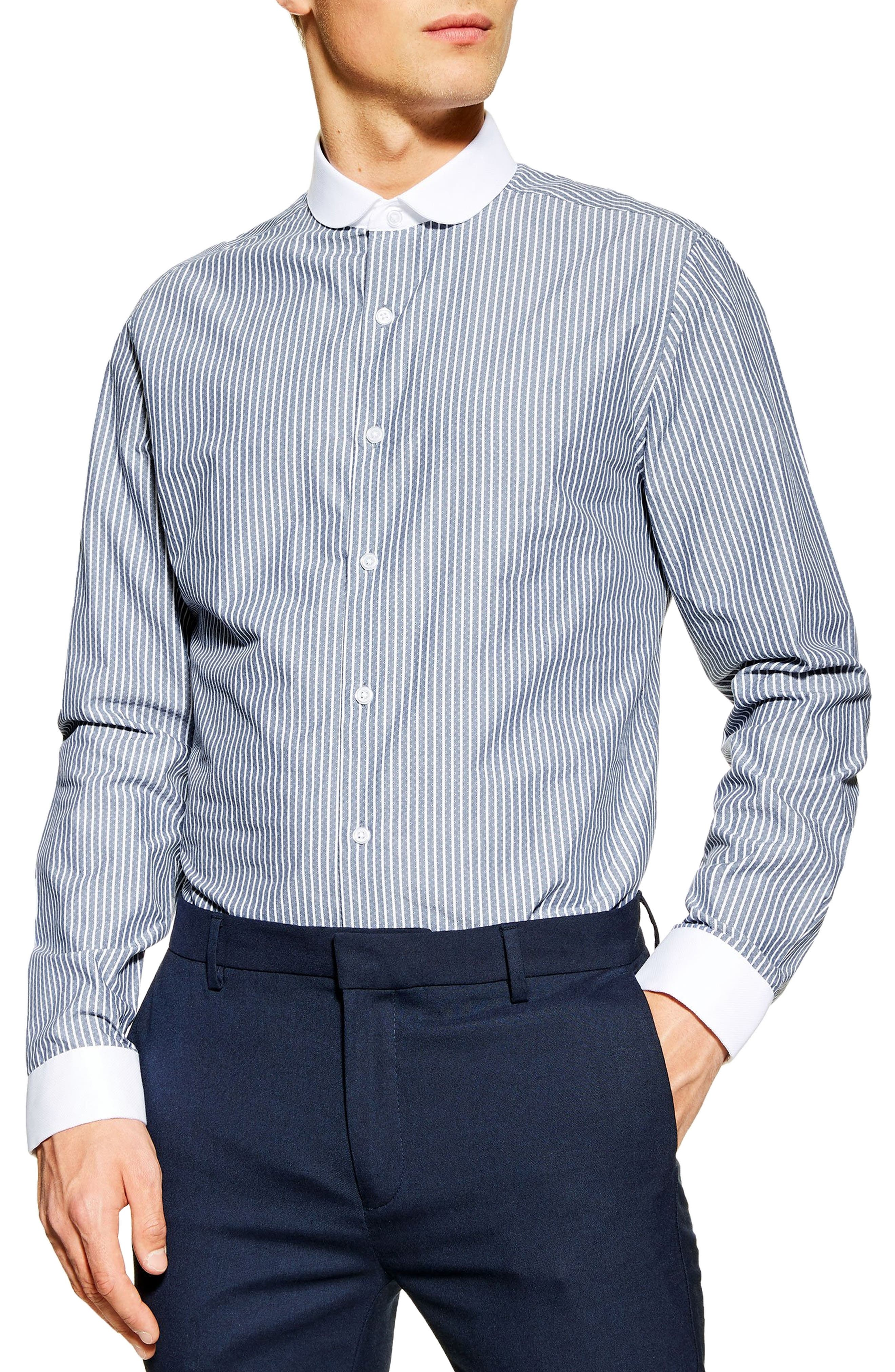 1920s Men's Dress Shirts Mens Topman Stretch Skinny Fit Dobby Stripe Shirt $55.00 AT vintagedancer.com