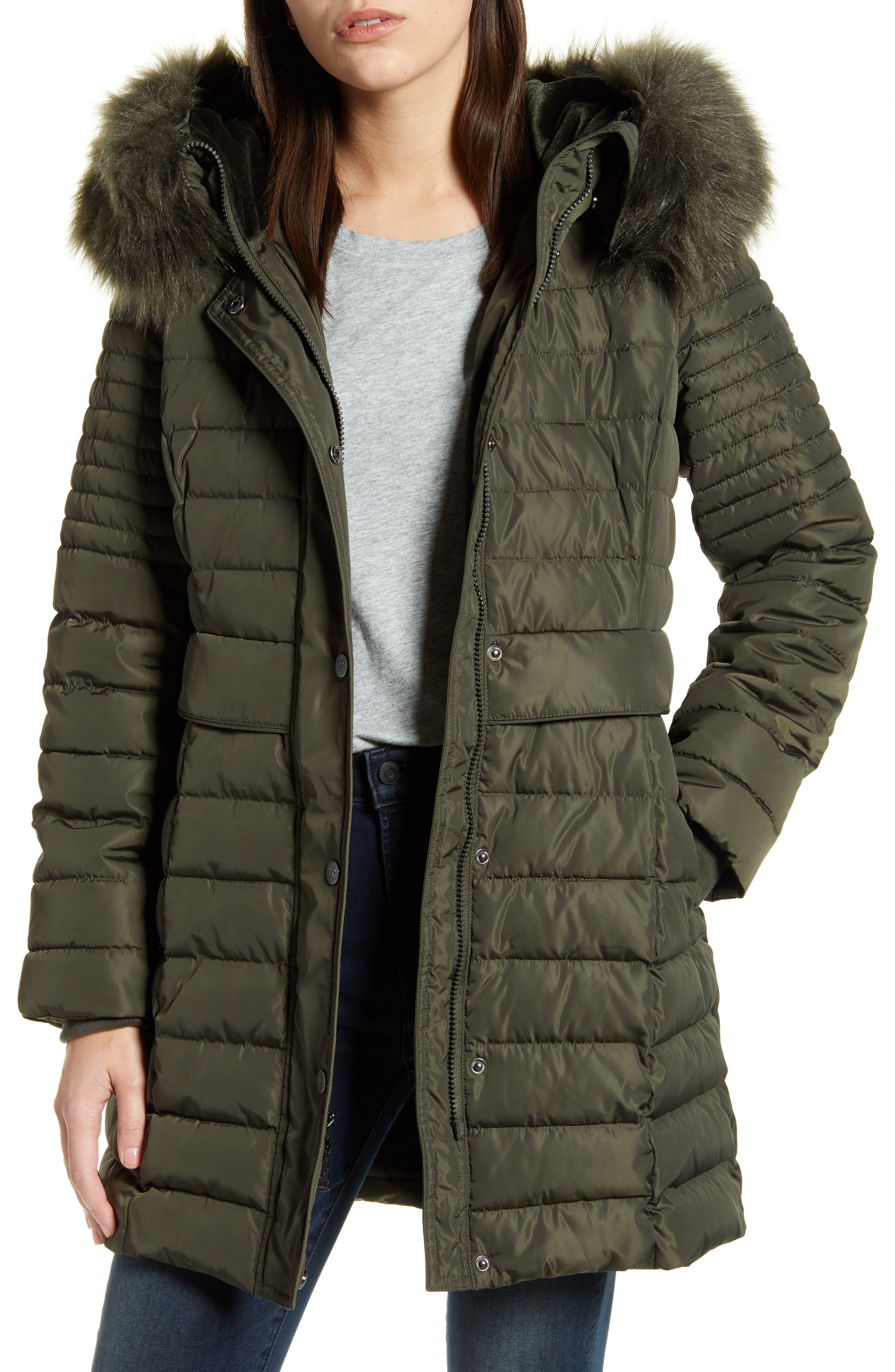Kenneth Cole New York Mens Box Quilted Faux Down Jacket