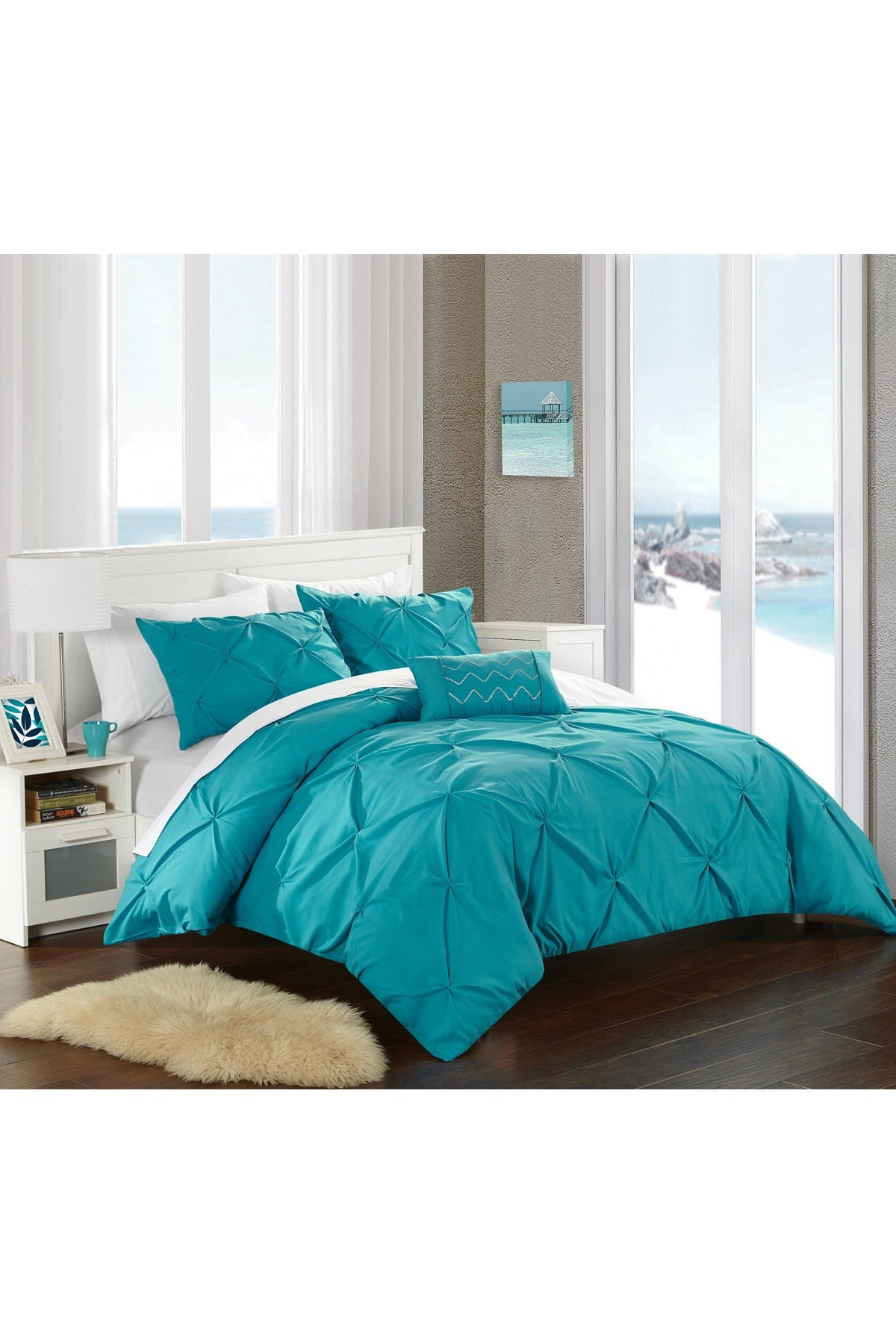 Image of Chic Home Bedding Weber Pinch Pleated, Ruffled & Pleated Complete Queen Duvet Cover 4-Piece Set, Turquoise