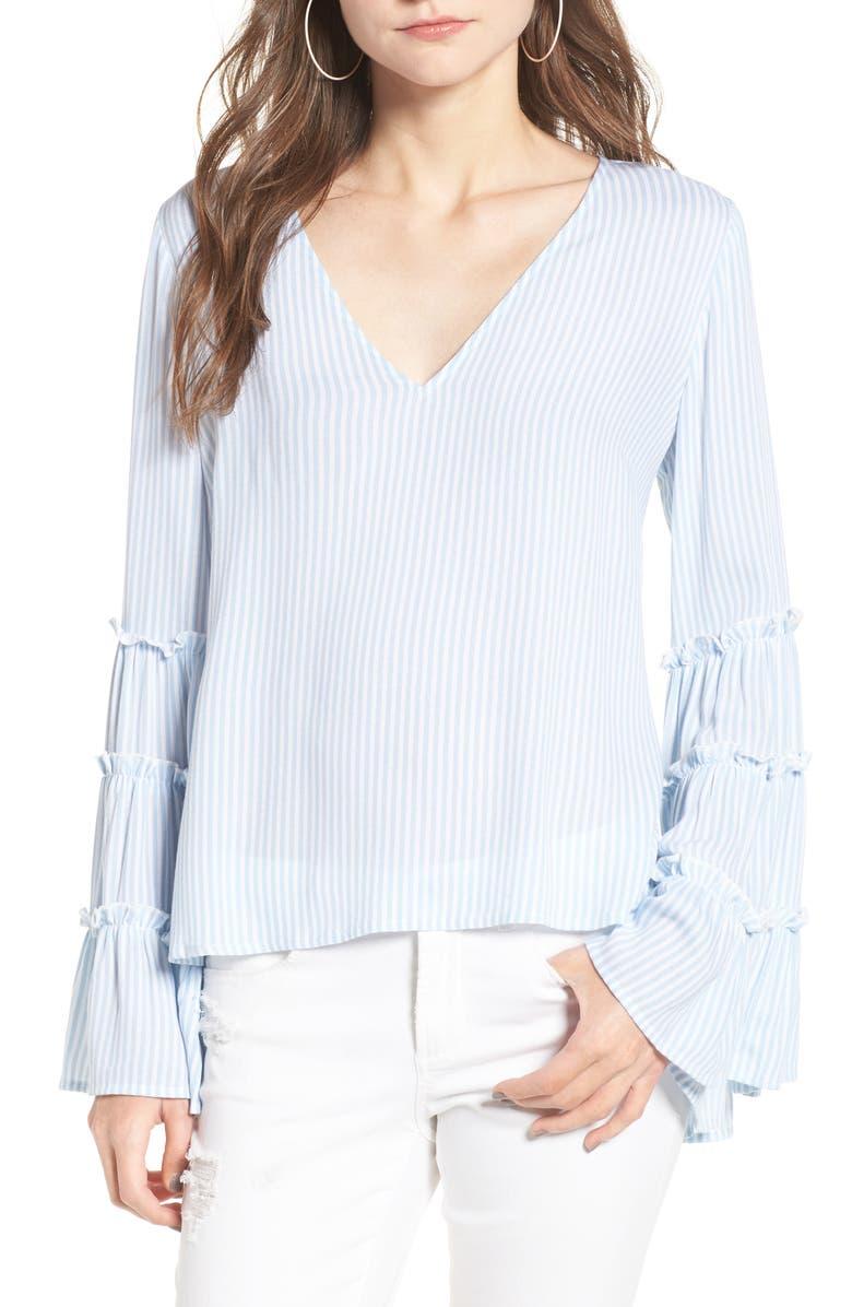 BP. Stripe Bell Sleeve Blouse, Main, color, 450