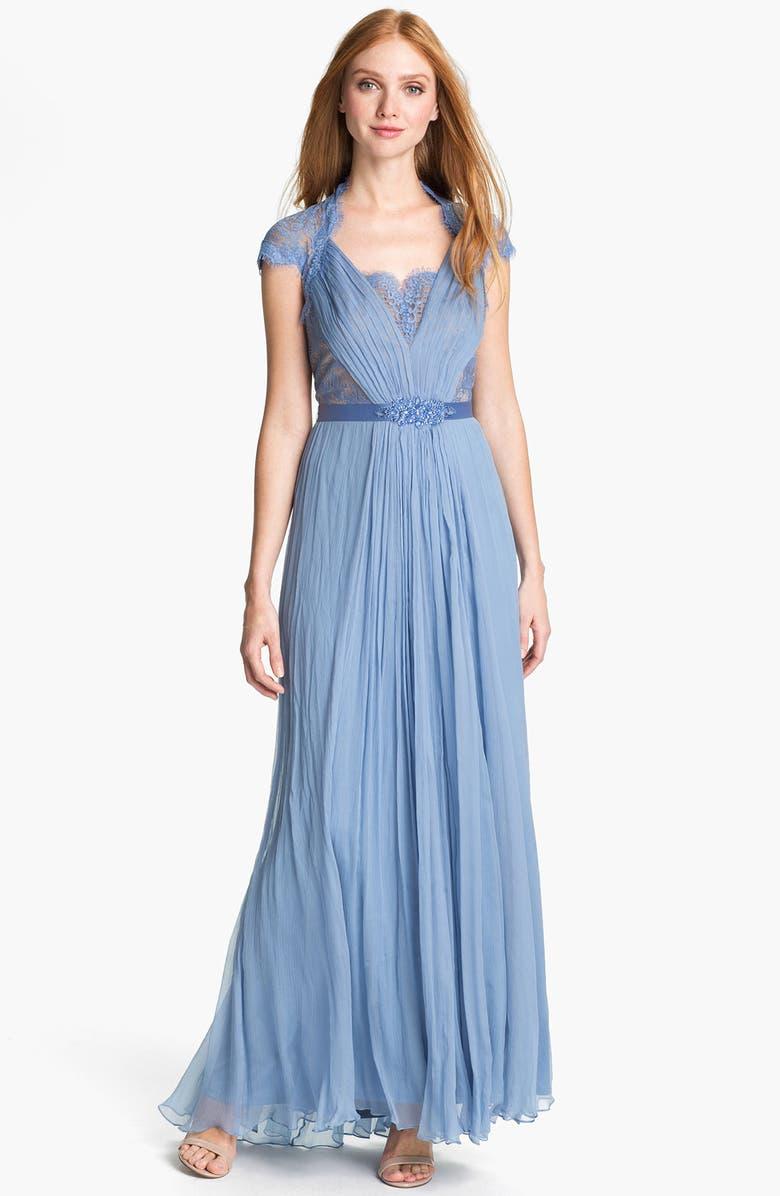TADASHI SHOJI Embellished Lace & Silk Chiffon Gown, Main, color, 438