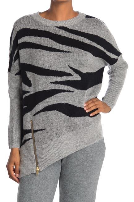 Image of ADY P Zebra Printed Asymmetric Sweater