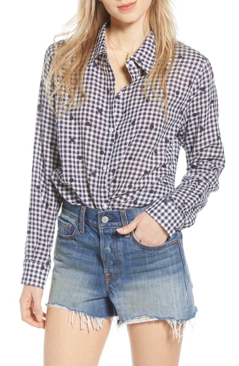 RAILS Audrey Linen Blend Shirt, Main, color, NAVY GINGHAM DOTS