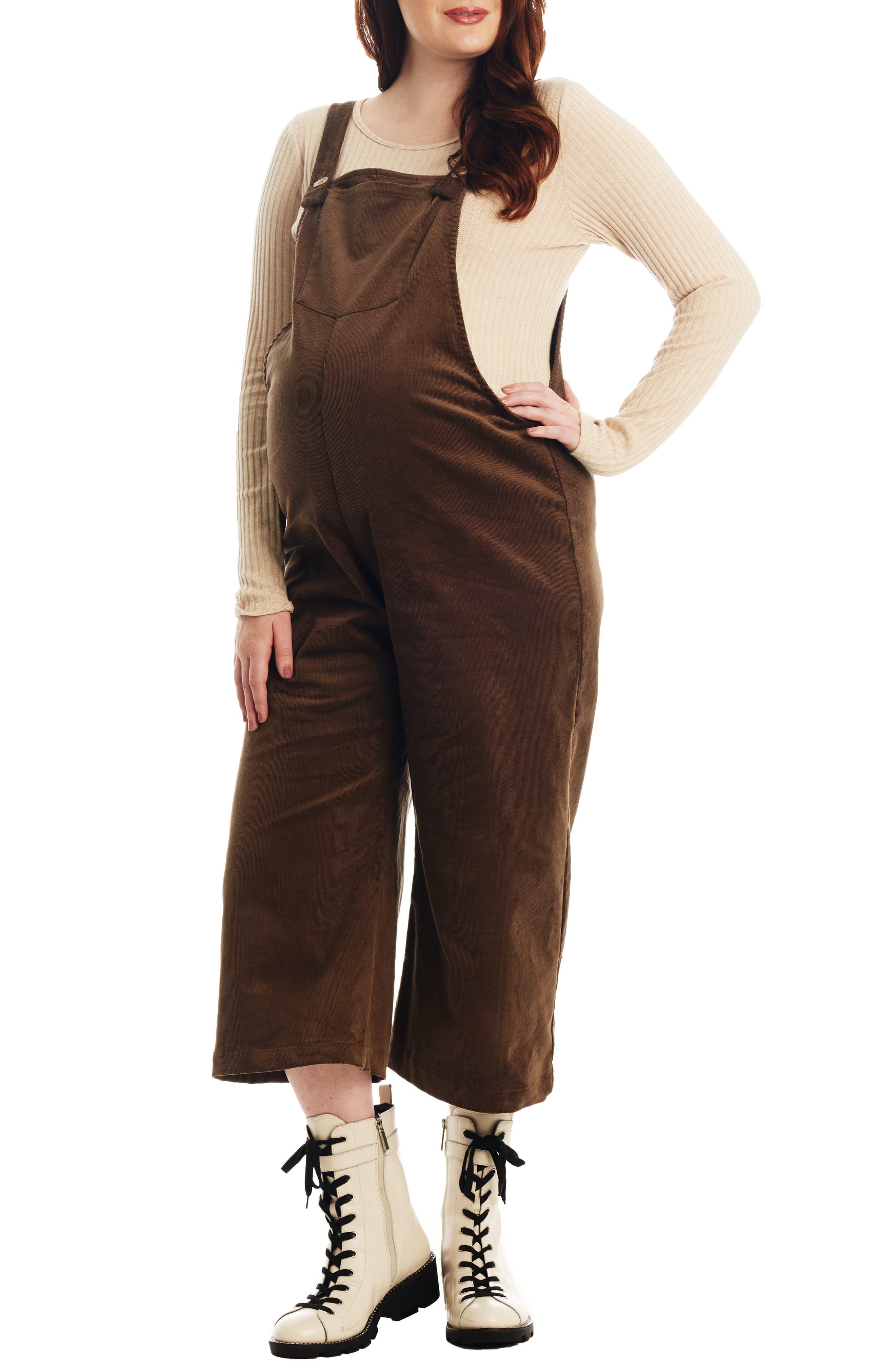 Women's Everly Grey Carlita Maternity/nursing Crop Overalls,  Large - Green
