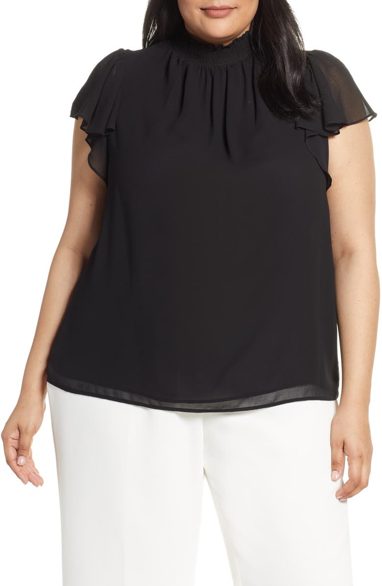 1.STATE Smocked Neck Blouse, Main, color, 001