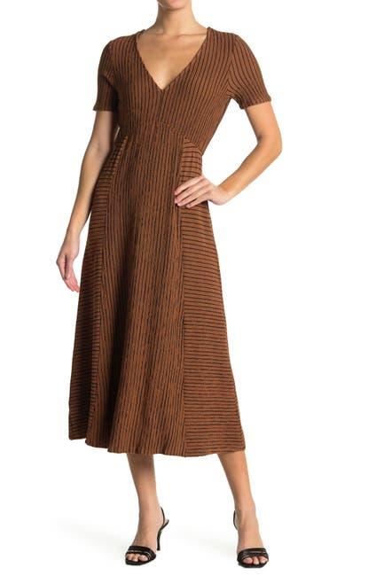 Image of KENEDIK Texture Stripe Print Knit Midi Dress