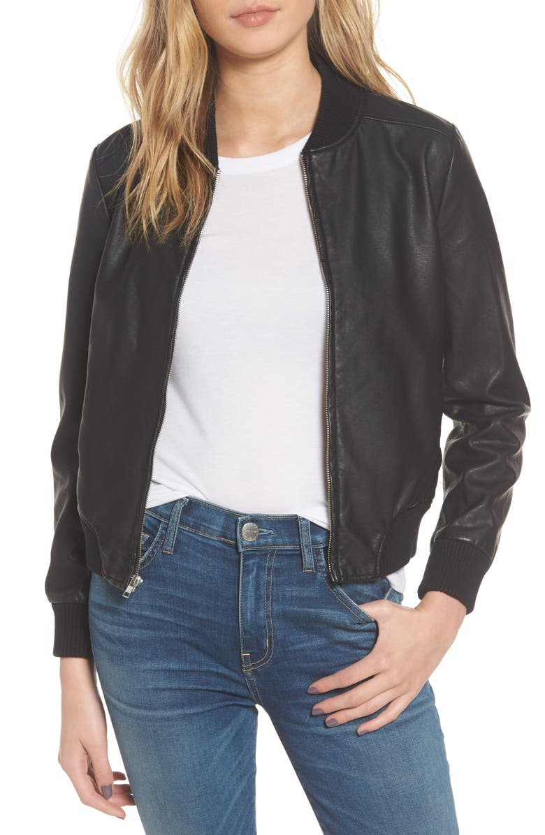 BB DAKOTA Gavin Faux Leather Bomber Jacket, Main, color, 001