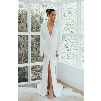 Noel And Jean By Katie May Empire Plunging Long Sleeve Trumpet Wedding Dress, Ivory