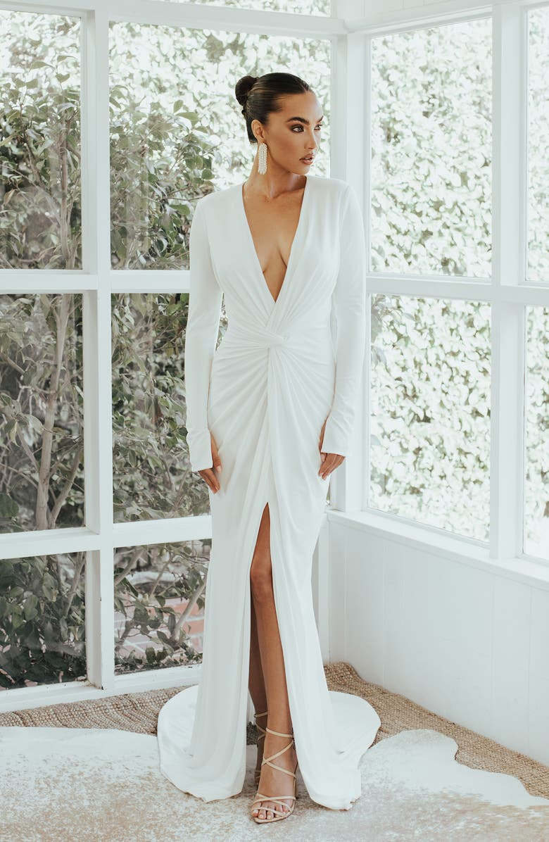 NOEL AND JEAN BY KATIE MAY Empire Plunging Long Sleeve Trumpet Wedding Dress, Main, color, 900