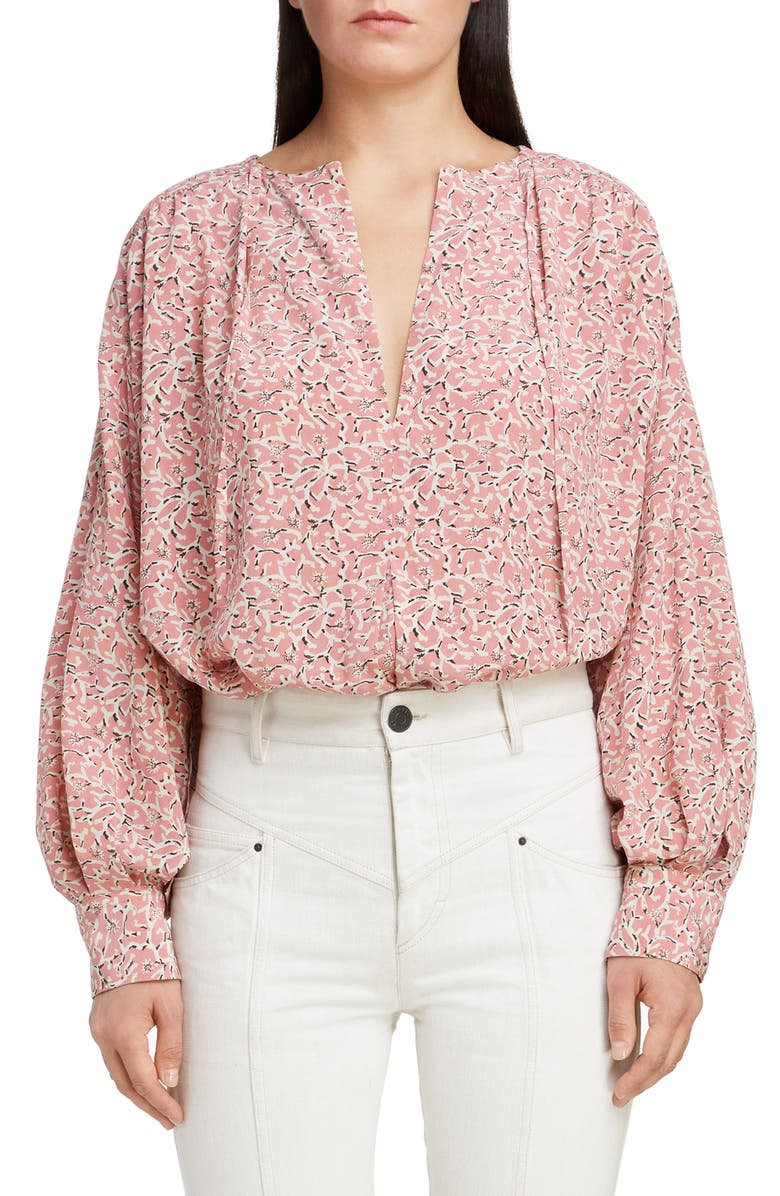 ISABEL MARANT Floral Stretch Silk Blouse, Main, color, 650