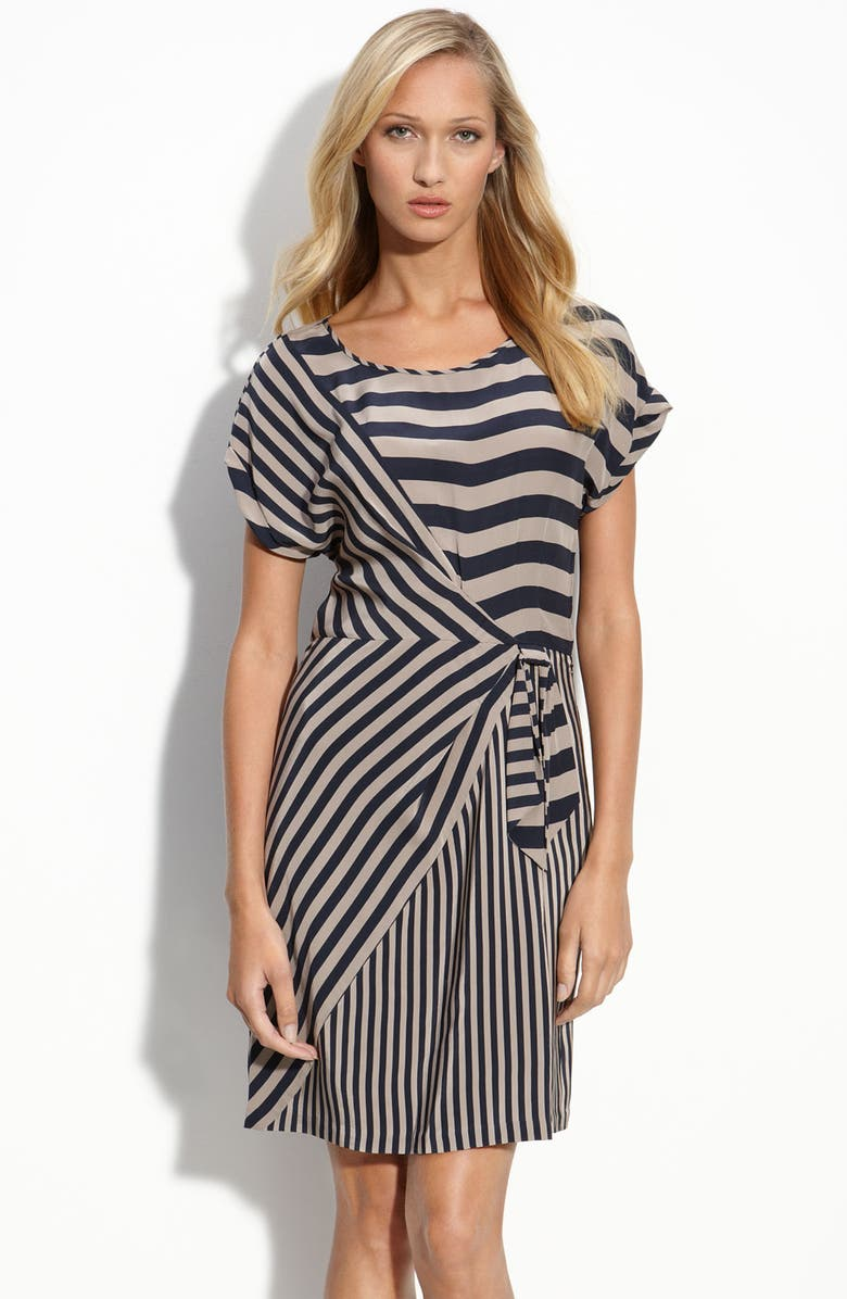 BCBGMAXAZRIA Stripe Silk Shift Dress, Main, color, 250