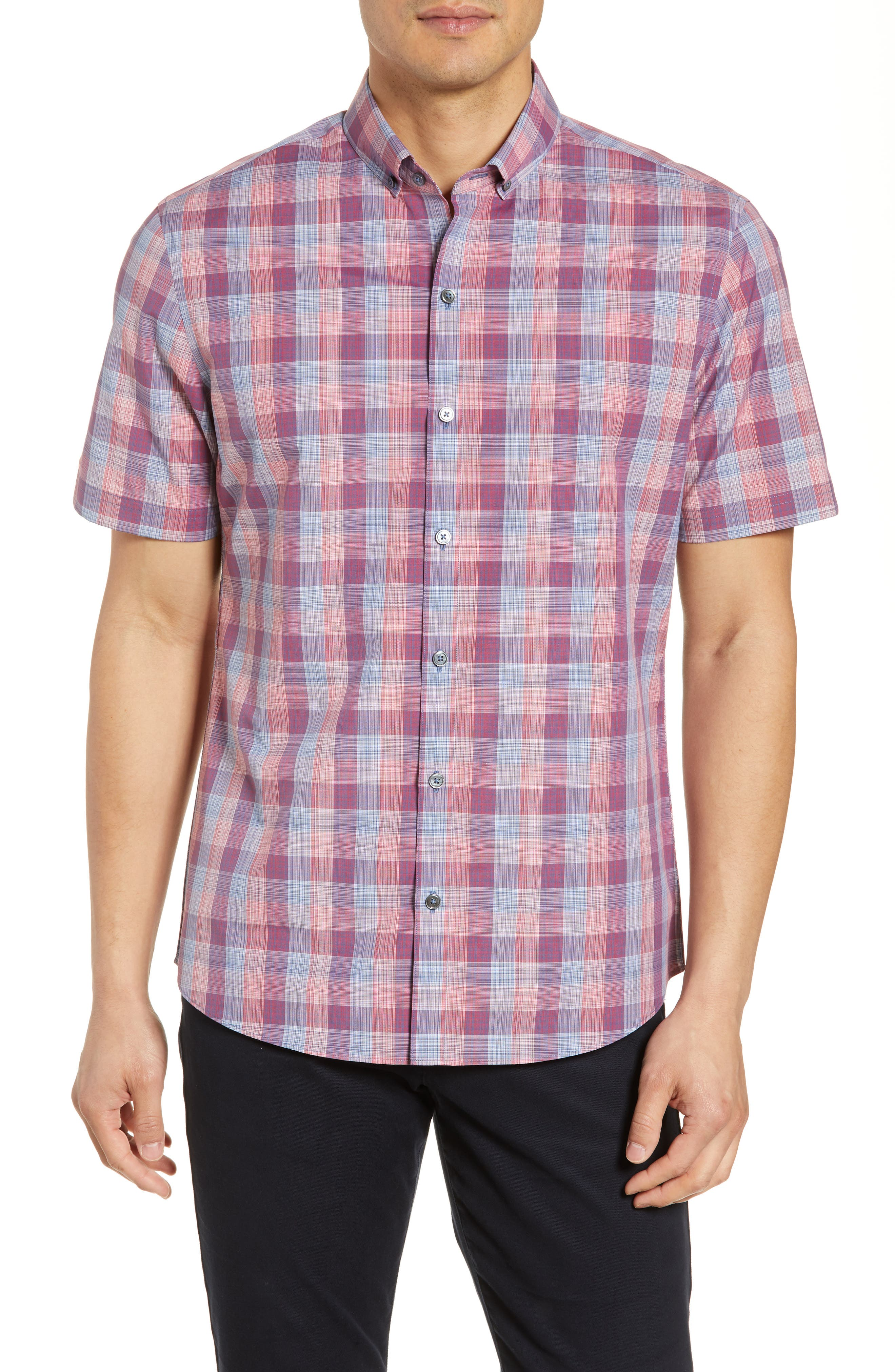 Zachary Prell Sutherland Regular Fit Plaid Sport Shirt, Red