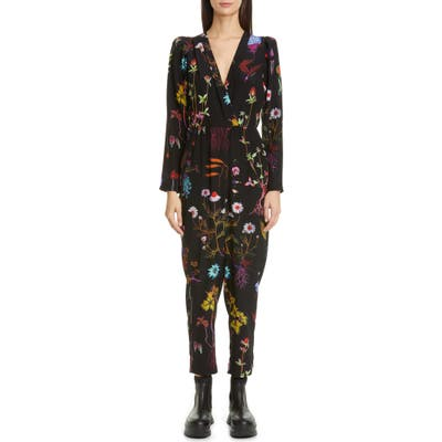Stella Mccartney Floral Print Silk Crop Jumpsuit, US / 42 IT - Black