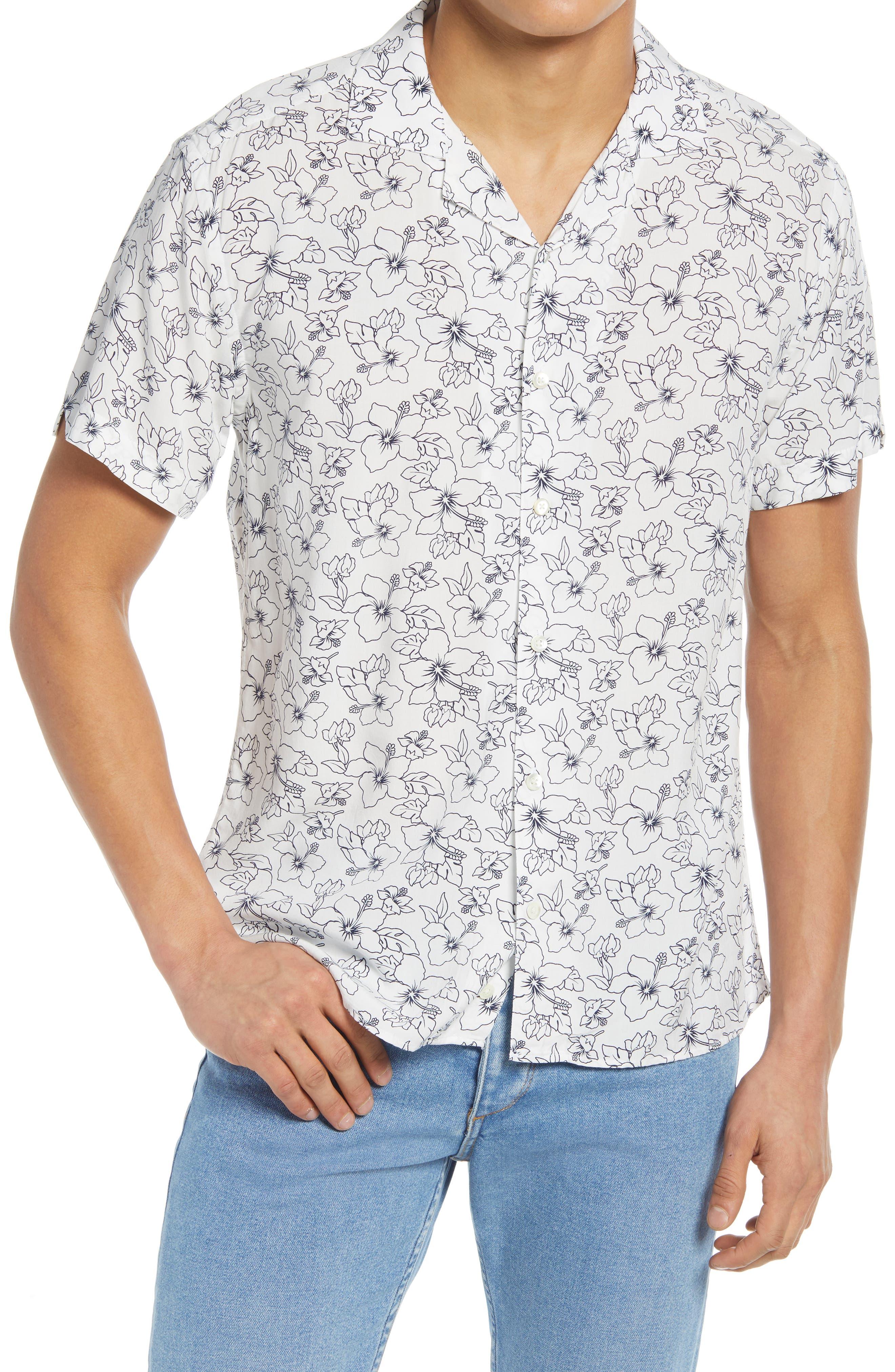 Tropical Floral Print Button-Up Camp Shirt