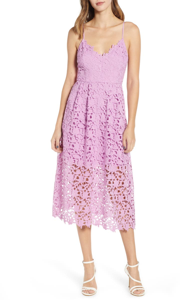 ASTR THE LABEL Lace Midi Dress, Main, color, LIGHT ORCHID