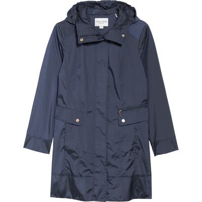 Petite Cole Haan Signature Back Bow Packable Hooded Raincoat, Blue