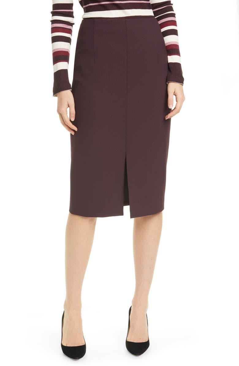 BOSS Vepeplum Front Slit Pencil Skirt, Main, color, MERLOT
