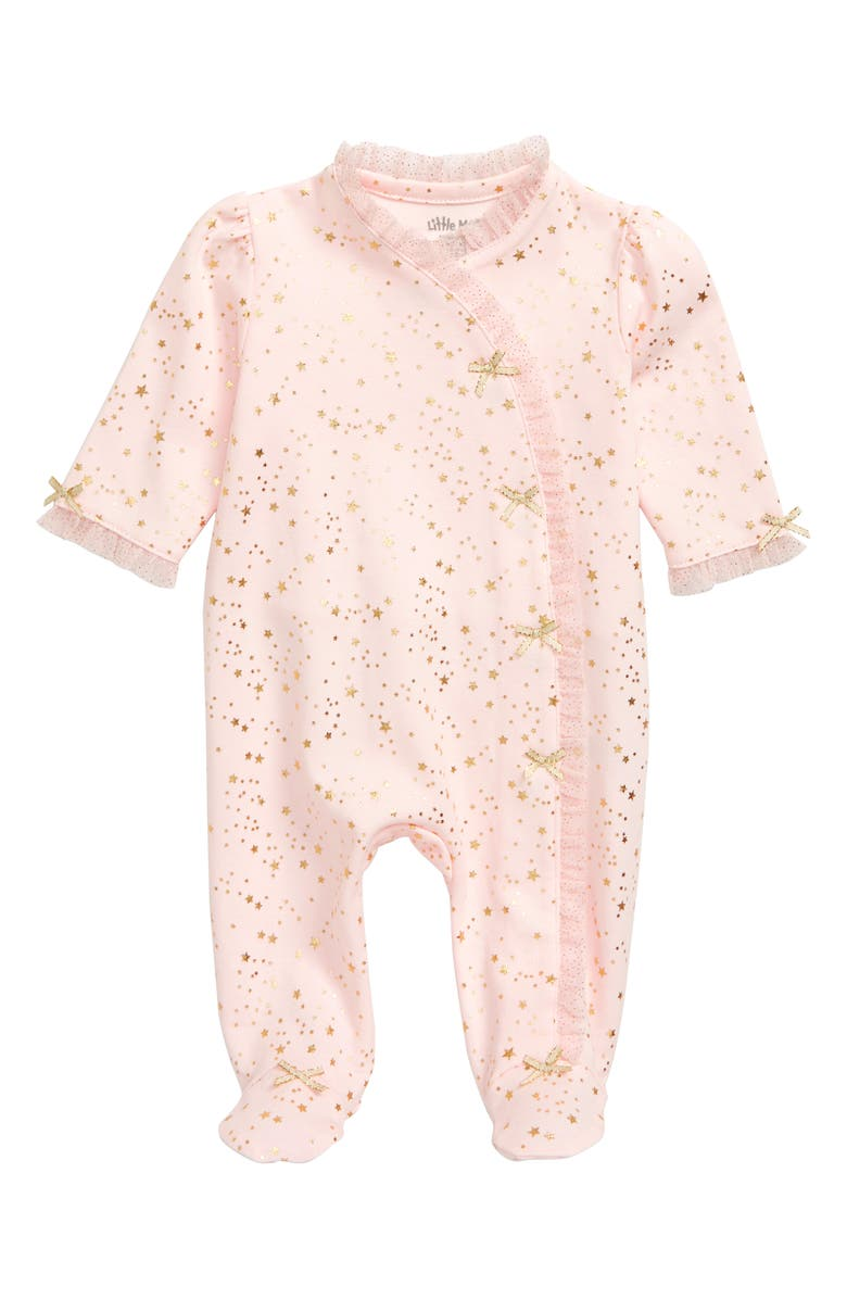 LITTLE ME Gold Stars Footie, Main, color, BARELY PINK/ GOLD