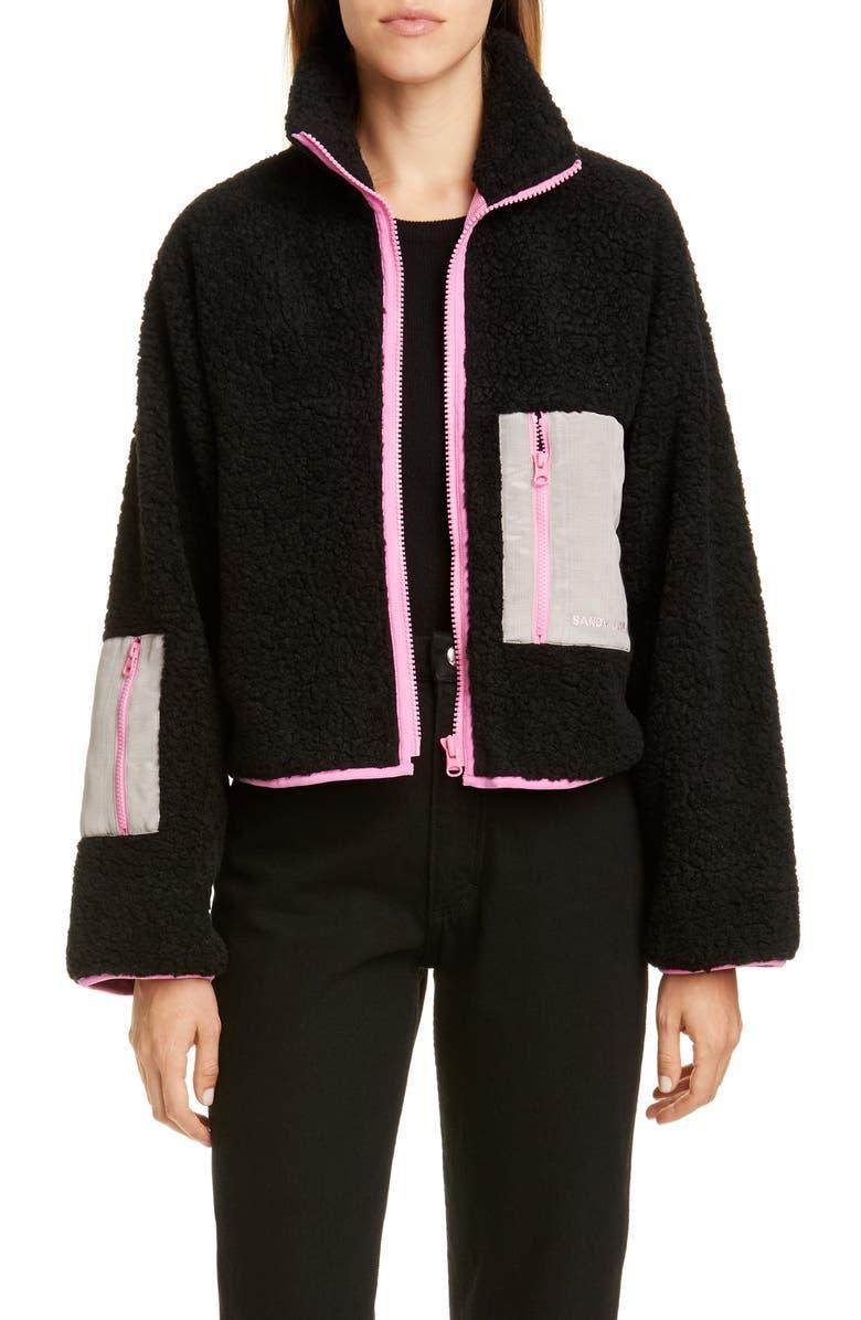 SANDY LIANG Frey Moiré Pocket Fleece Jacket, Main, color, BLACK