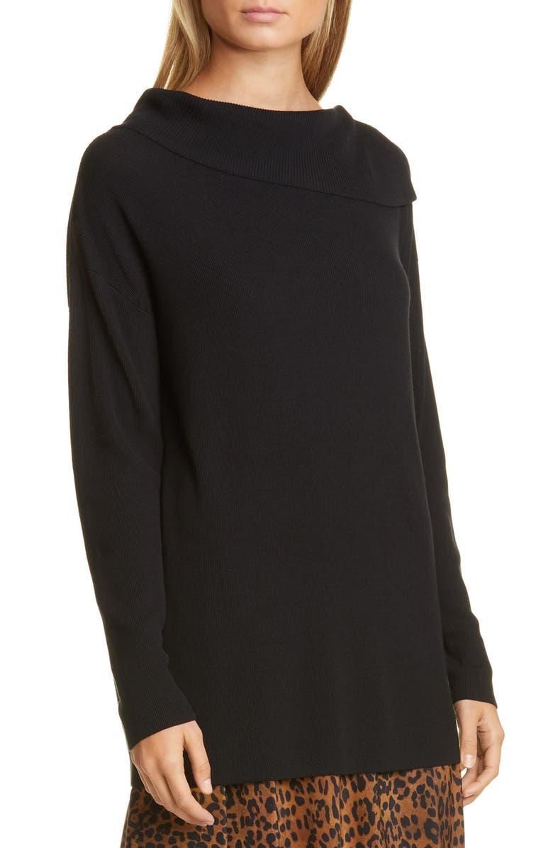 LAFAYETTE 148 NEW YORK Asymmetrical Neck Sweater, Main, color, BLACK