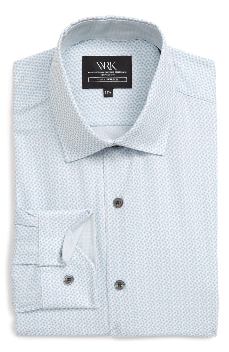 W.R.K Slim Fit Performance Stretch Paisley Dress Shirt, Main, color, PEARL GREY
