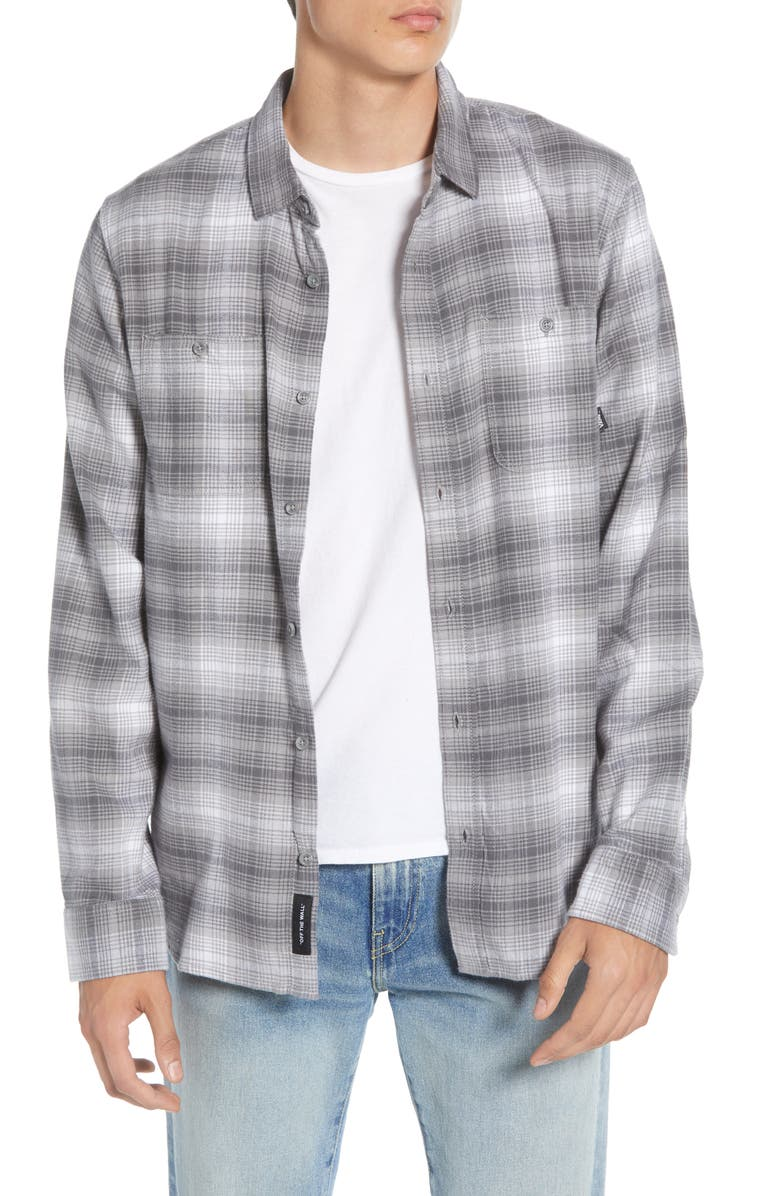 VANS Banfield III Tailored Fit Plaid Button-Up Flannel Shirt, Main, color, WHITE