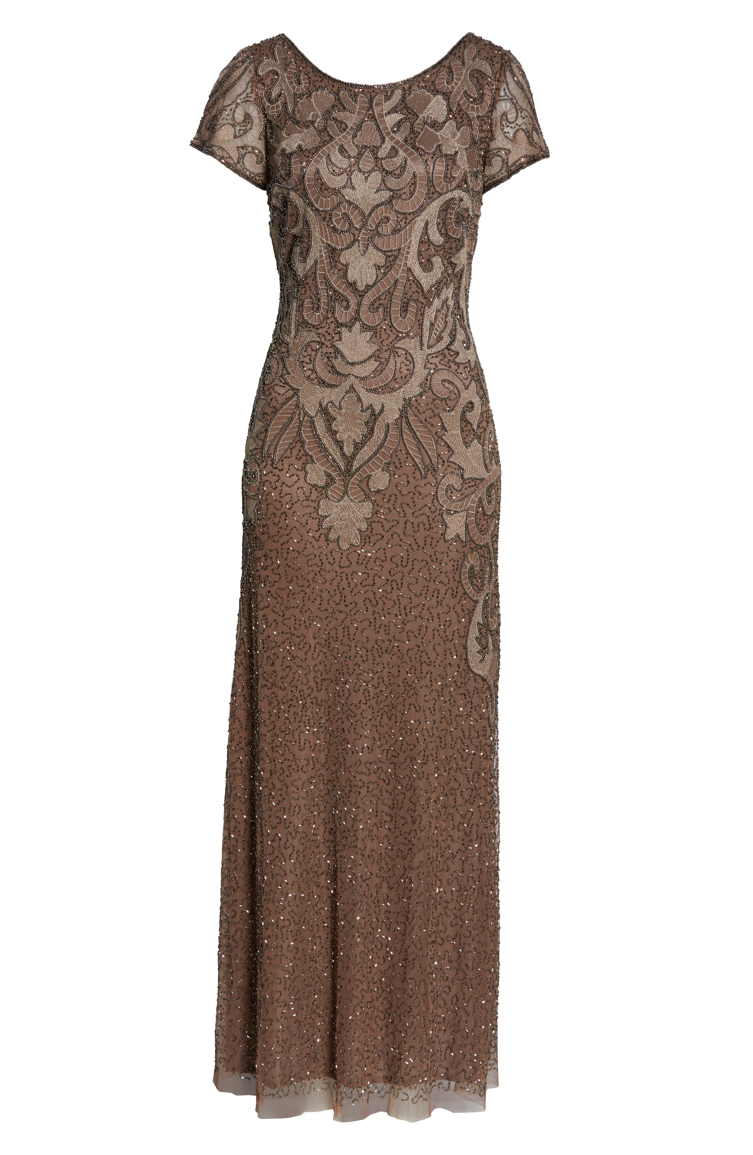 ,                             Embroidered Mesh Gown,                             Alternate thumbnail 9, color,                             MOCHA