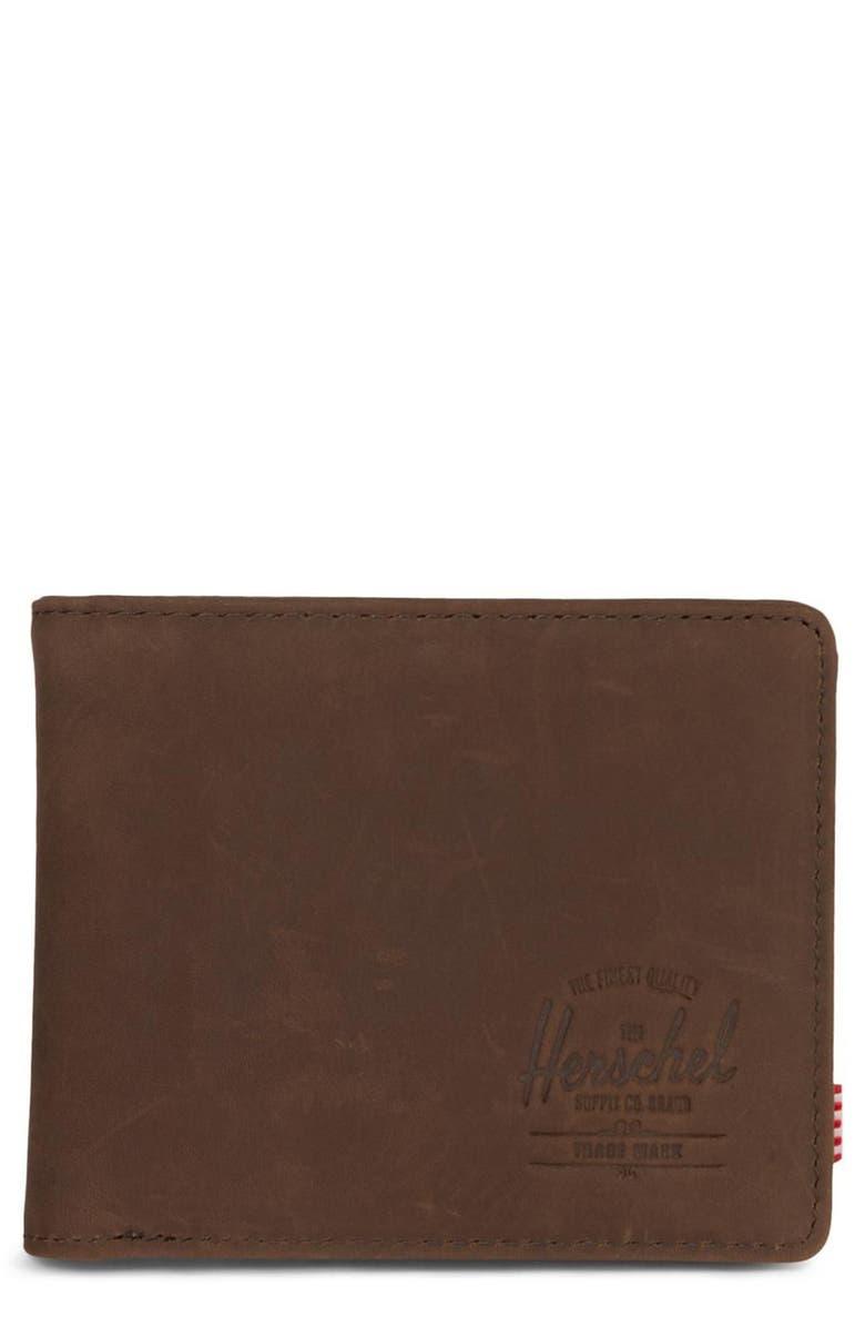 HERSCHEL SUPPLY CO. Hank Leather Wallet, Main, color, NUBUCK BROWN