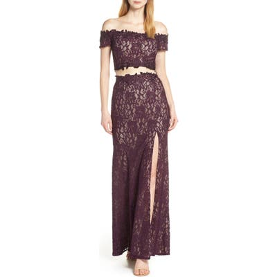 Sequin Hearts Two-Piece Off The Shoulder Lace Evening Dress, Purple