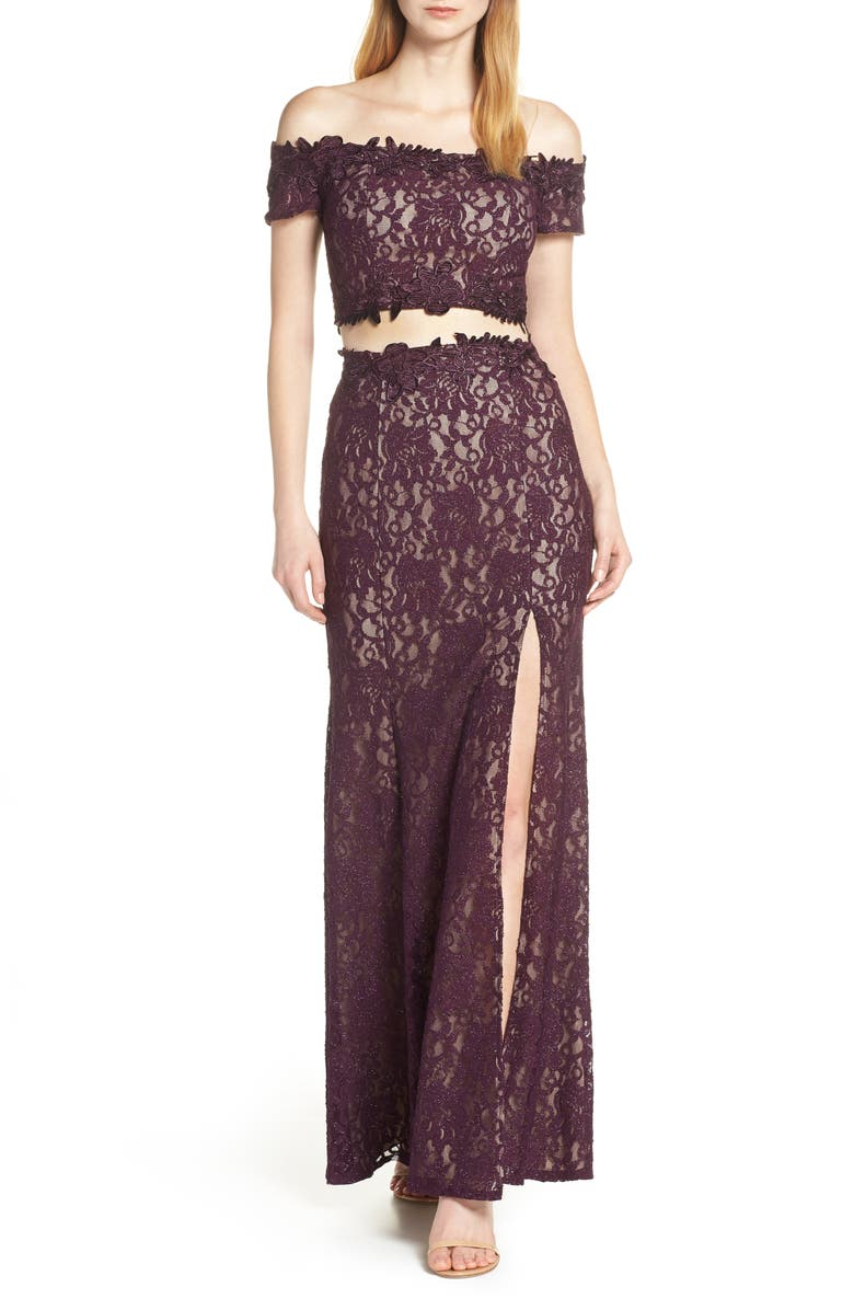 Two Piece Off The Shoulder Lace Evening Dress by Sequin Hearts