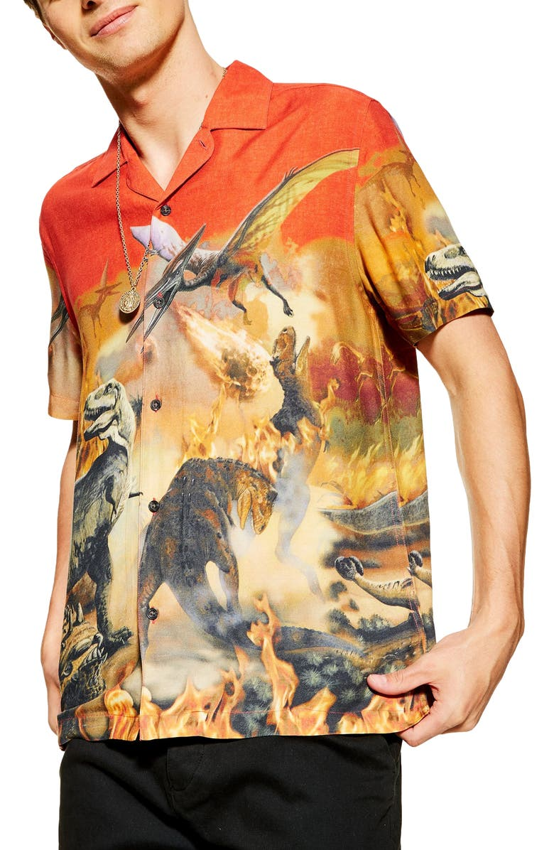 TOPMAN Dinosaur Print Short Sleeve Button-Up Shirt, Main, color, 600