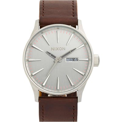Nixon The Sentry Leather Strap Watch, 42Mm