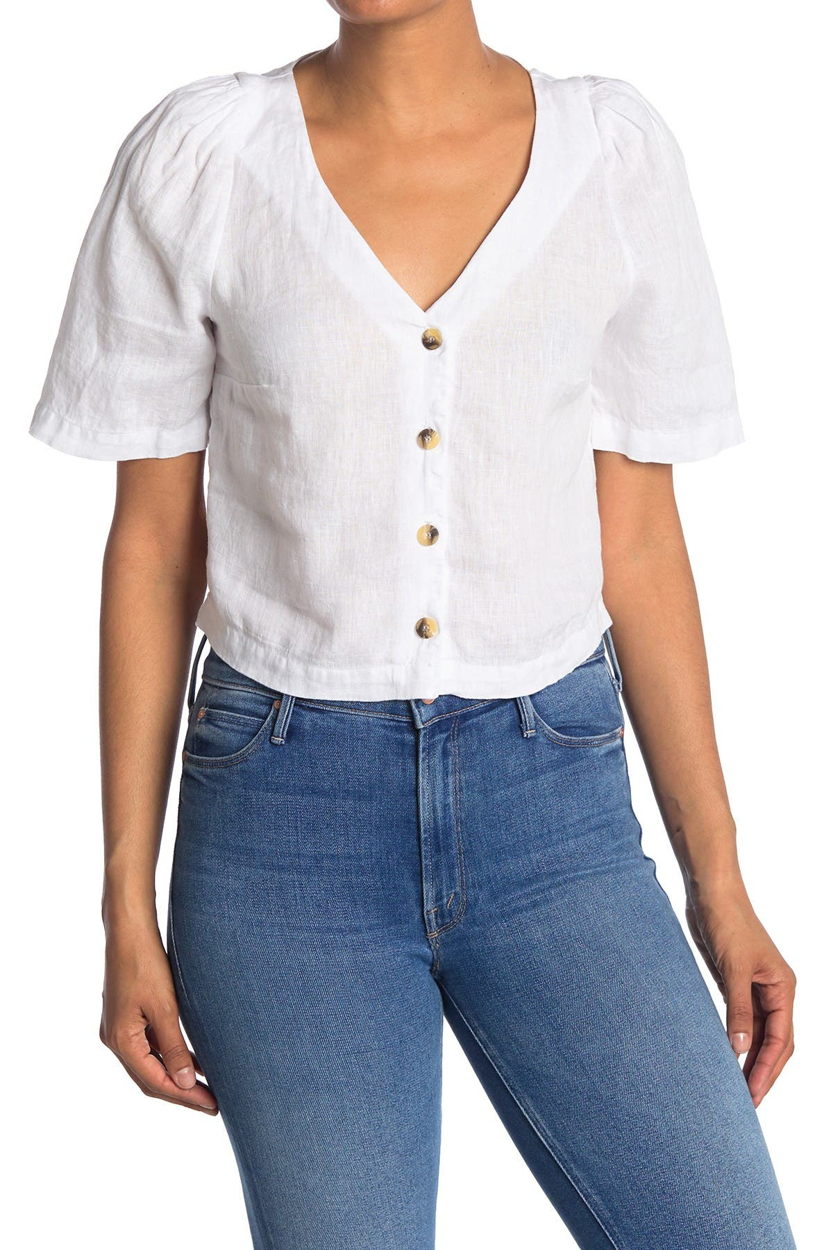 Image of Stateside Linen Puff Sleeve Button Up Top