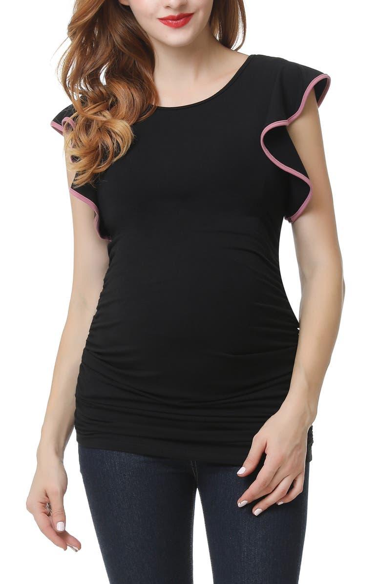 KIMI AND KAI Ruthie Ruffle Sleeve Maternity Top, Main, color, BLACK