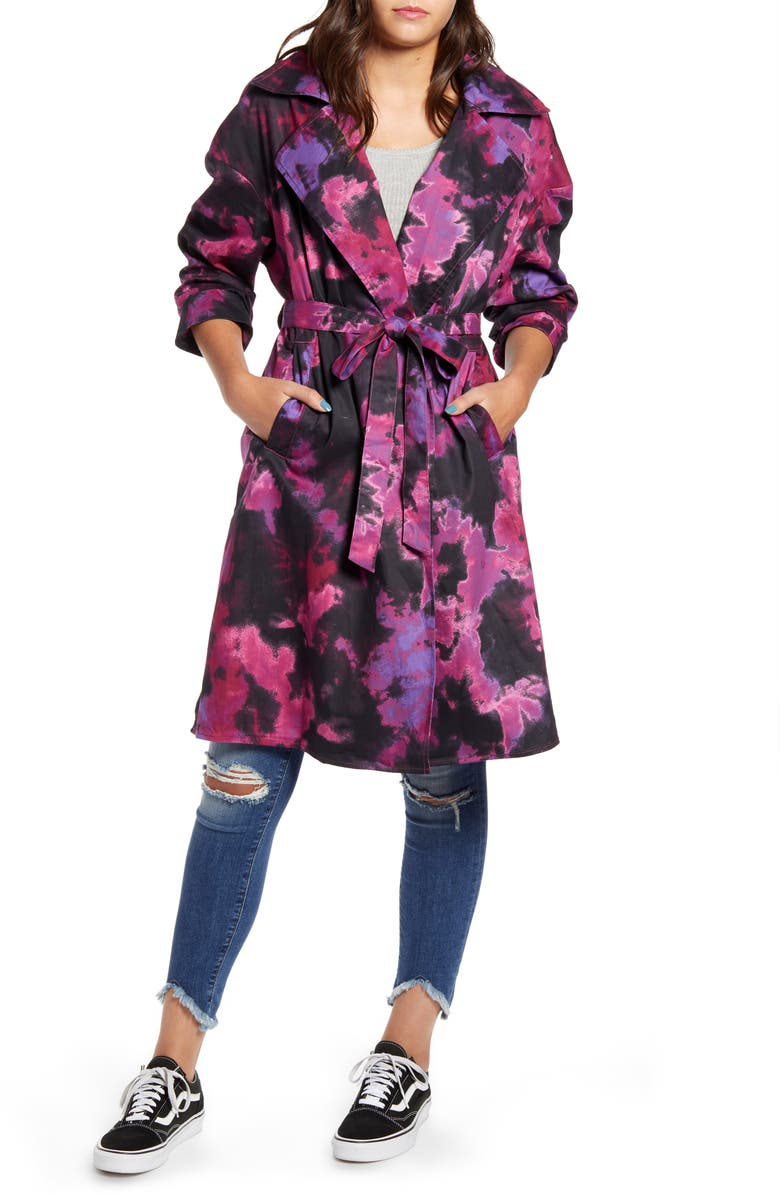 TINSEL Tie Dye Trench Coat, Main, color, PURPLE