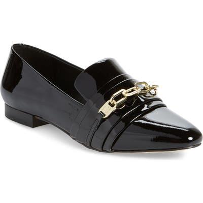 Karl Lagerfeld Paris Nikki Buckle Patent Leather Loafer- Black