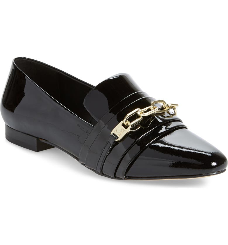 KARL LAGERFELD PARIS Nikki Buckle Patent Leather Loafer, Main, color, BLACK PATENT LEATHER