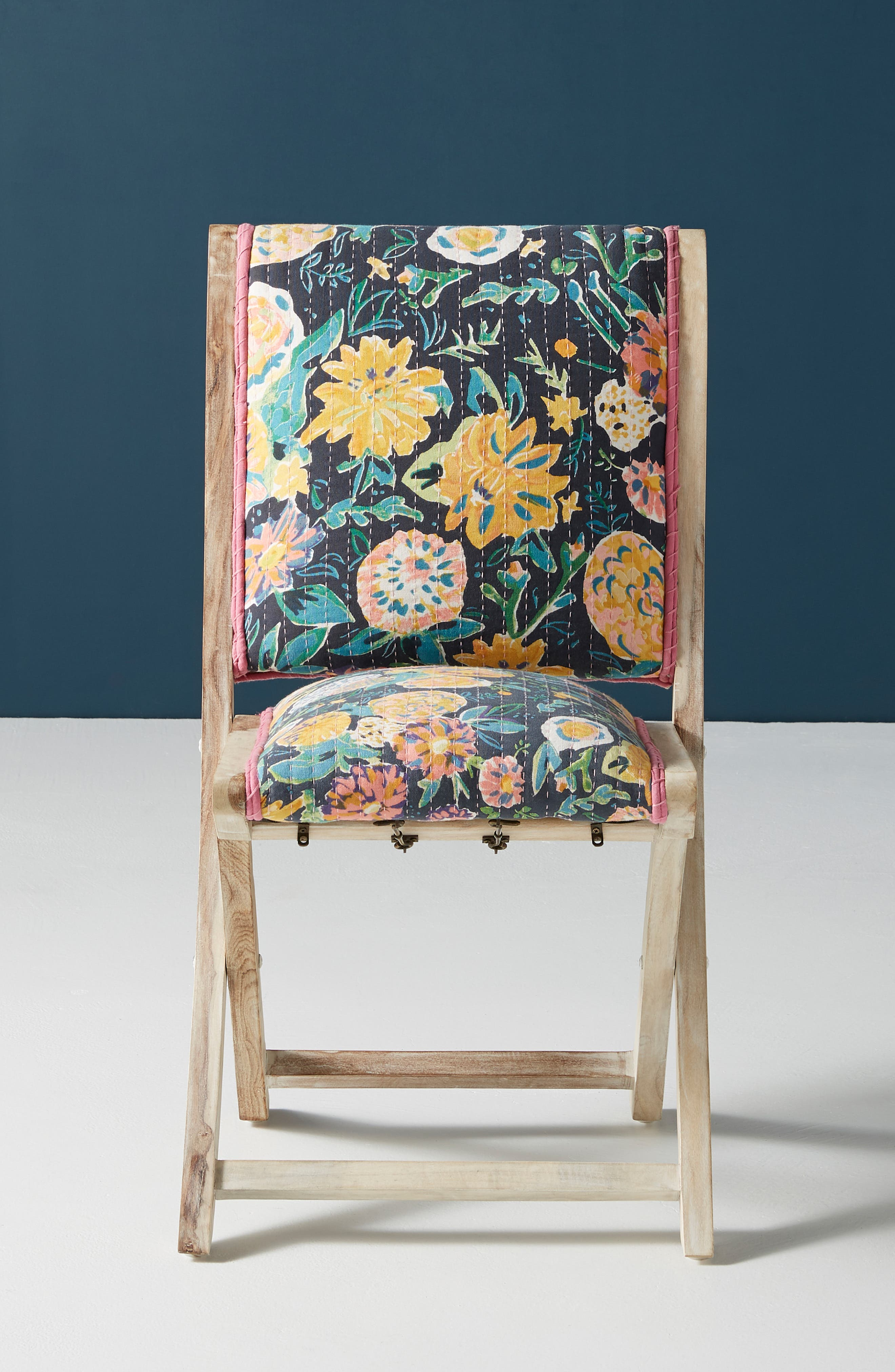 ,                             Emma Terai Folding Chair,                             Alternate thumbnail 8, color,                             BLACK MULTI