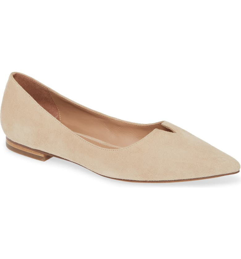 LINEA PAOLO Presta Pointed Toe Flat, Main, color, CEMENT SUEDE