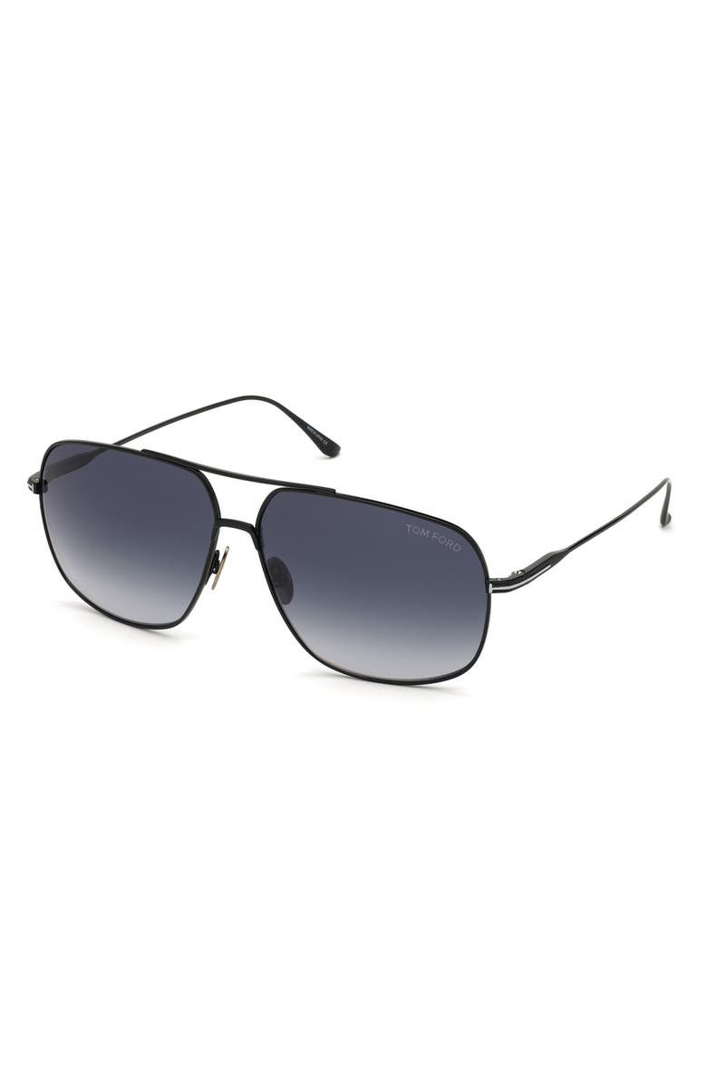 TOM FORD John 62mm Oversize Aviator Sunglasses, Main, color, SHINY BLACK/ GRADIENT BLUE