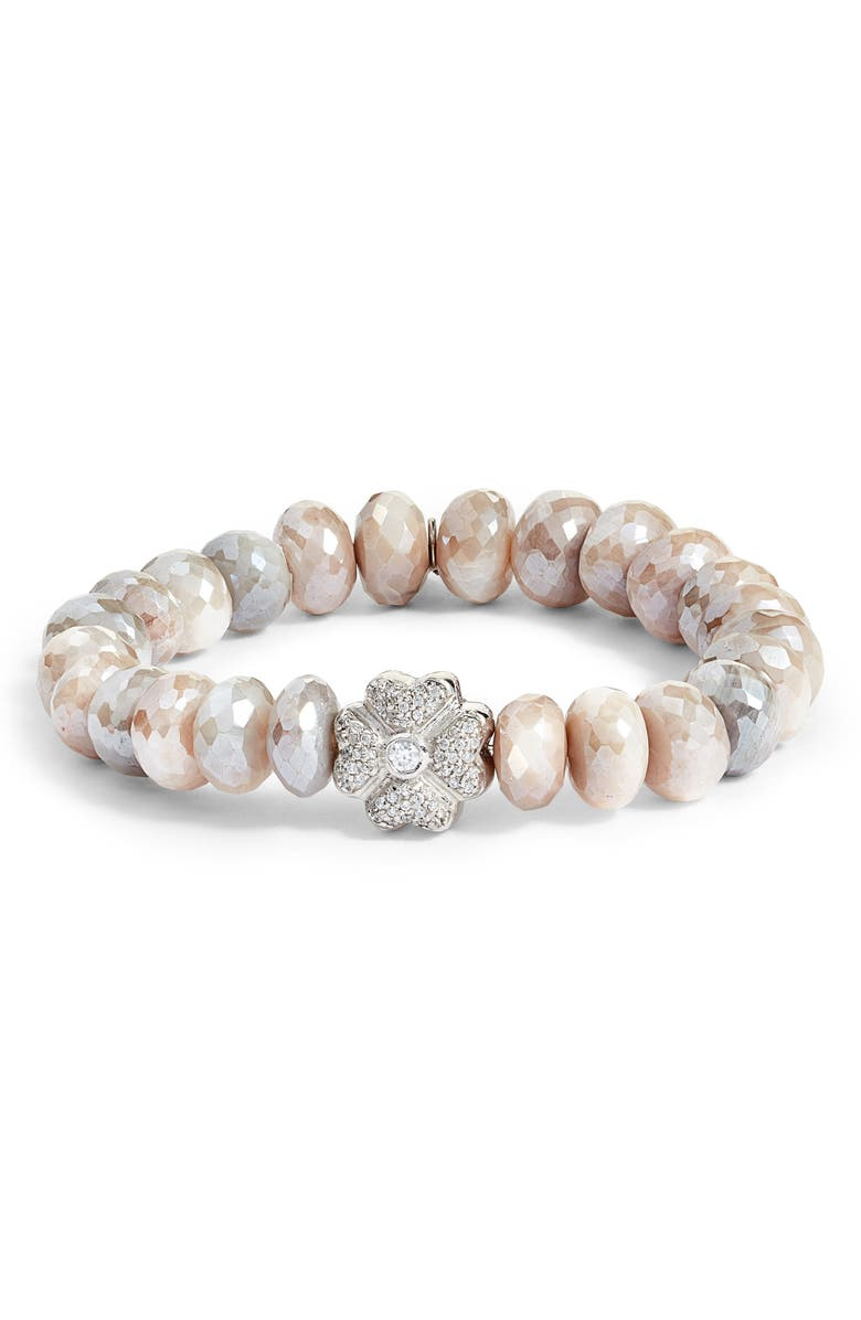 ANZIE Mystic Moonstone Beaded Bracelet, Main, color, SILVER