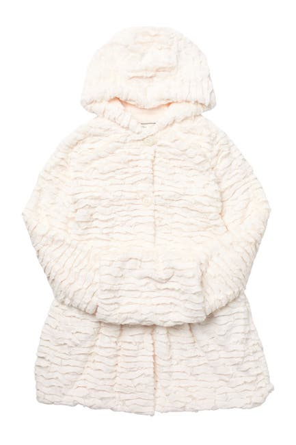 Image of WIDGEON Faux Fur Hooded Coat with Muff