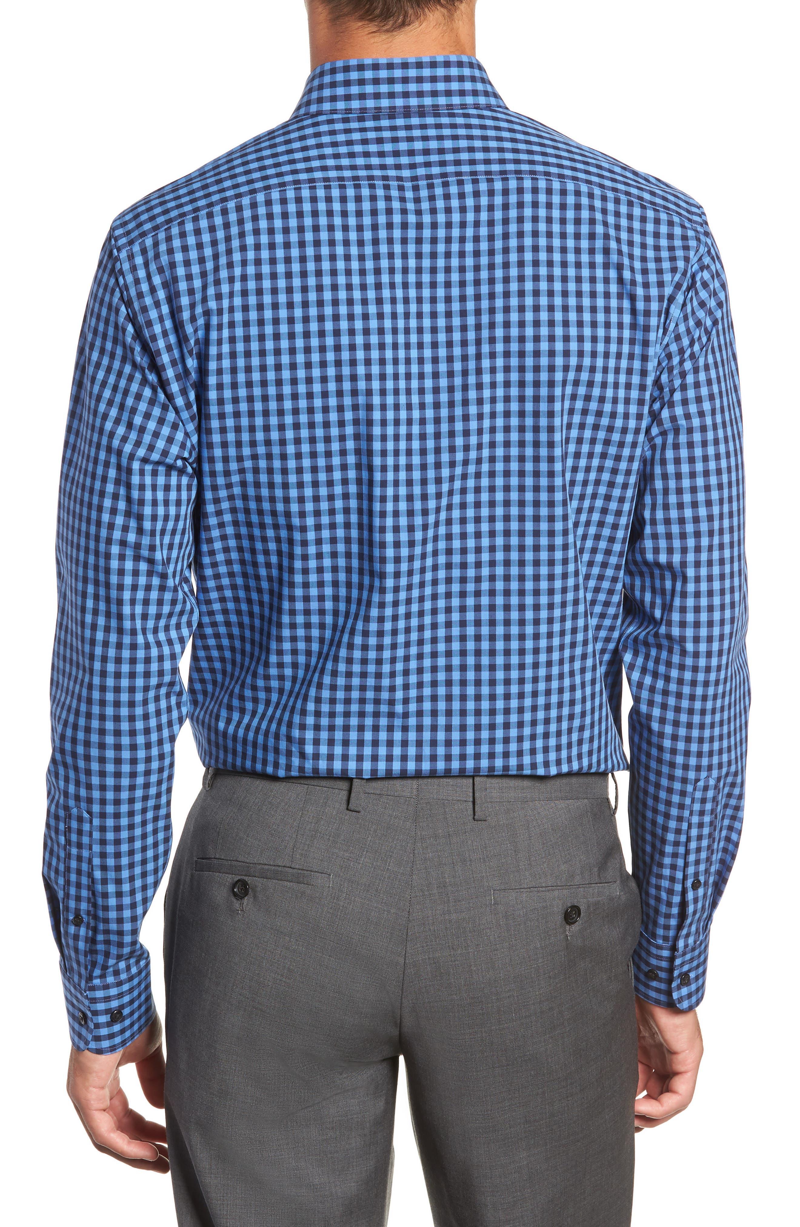 ,                             Tech-Smart Trim Fit Stretch Check Dress Shirt,                             Alternate thumbnail 35, color,                             455
